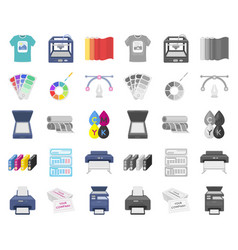 Typographical products cartoonmono icons in set vector
