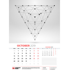 wall calendar template for october 2019 with vector image
