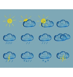 Weather Felt Pen Drawing Icons vector