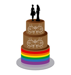 wedding cake with two women vector image