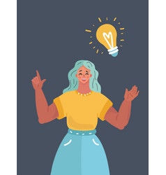 woman with big bulb above on dark background vector image