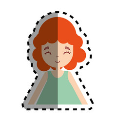 Woman with hairstyle and casual cloth icon vector
