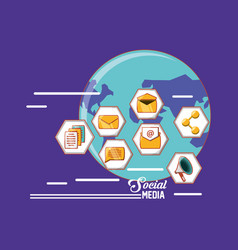 world social media technology communication icons vector image