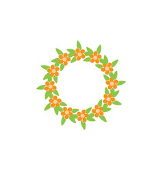 wreath floral isolated design template vector image