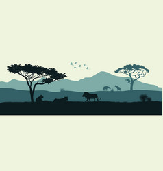 black silhouette of animals of african savannah vector image vector image