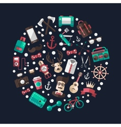Circle of modern flat design hipster vector image vector image