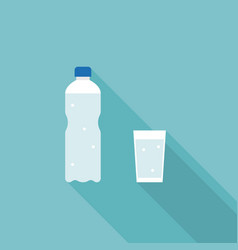 mineral water bottle and glass of water vector image vector image