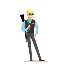 police agent with rifle character vector image
