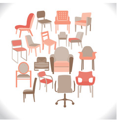 set of chairs and armchairs set of different vector image
