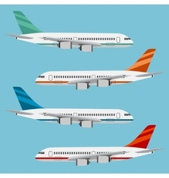 Set of colorful flat airplanes vector image vector image