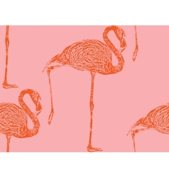 vintage of a pink flamingo seamless animal pattern vector image
