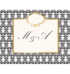 Vintage wedding invitation card vector image