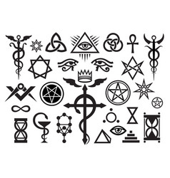 x medieval occult signs and magic stamps vector image