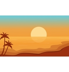 Beach at sunrise scenery silhouettes vector image vector image