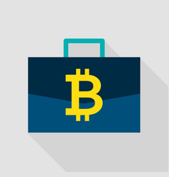 bitcoin suitcase flat icon vector image