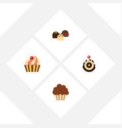 flat cake set of pastry cake muffin and other vector image