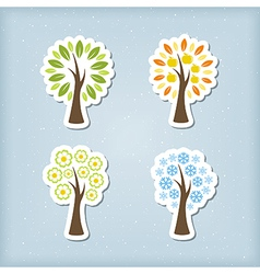 Four season tree icons vector image vector image