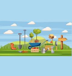 gardener tools icons set cartoon style vector image