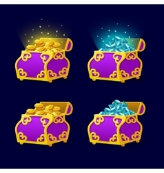 Purple Chest set for game interface vector image vector image