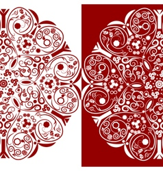 Red and white ornamental floral round lace vector image vector image