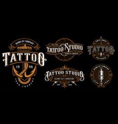 set of vintage tattoo emblems version for dark vector image