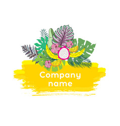 trendy tropical leaves design vector image vector image
