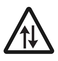 two way traffic sign line icon vector image