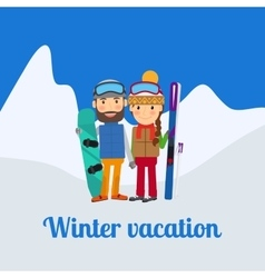 Winter sport couple on vacation vector image vector image