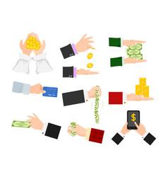 businessman human hands arm holding paper money vector image
