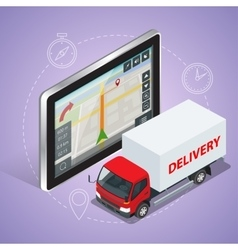 GPS truck Geolocation gps navigation touch screen vector image vector image