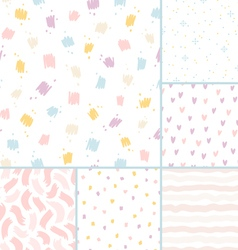 Hand drawn brushes seamless patterns collection vector image vector image