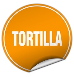 Tortilla round orange sticker isolated on white vector