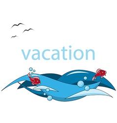 vacation background sea fish wave vector image