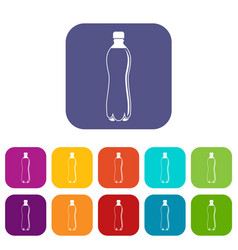 Water bottle icons set flat vector