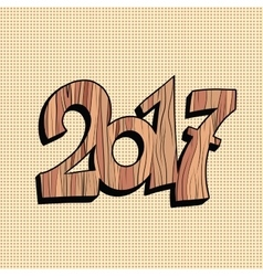 Wooden figure 2017 new year vector image