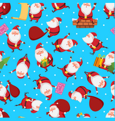 christmas seamless pattern with santa in different vector image