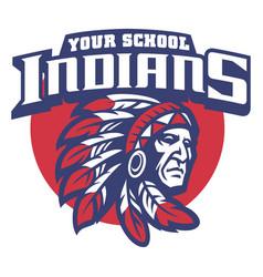 school mascot of indian chief head vector image vector image