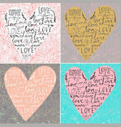 set of valentines card with line heart and love vector image vector image