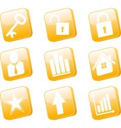 3d orange icons set vector image
