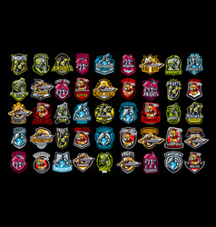 A set of emblems of knights paladins spartans vector