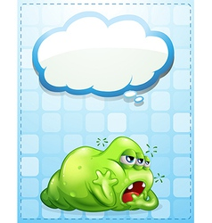 A tired three-eyed green monster with an empty vector