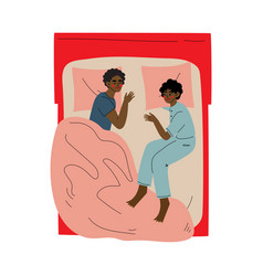 african american couple sleeping in bed husband vector image