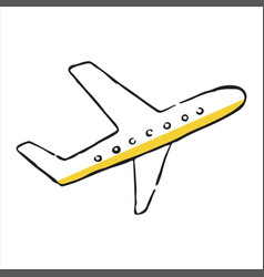 Airplane doodle icon vector