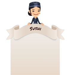 Asian Female Chef Looking at Blank Menu on Top vector image