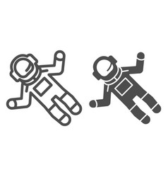 Astronaut line and glyph icon spaceman vector
