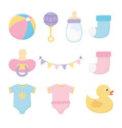 Baby shower bodysuits pacifier bottle rattle sock vector