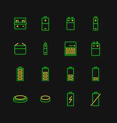battery flat line icons batteries varieties vector image