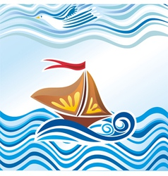 Beautiful sea wave bird ship vector image