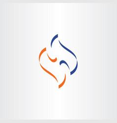 blue orange symbol letter h logotype sign element vector image