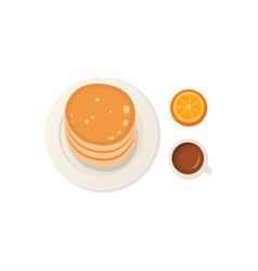 breakfast fresh food and drinks top view vector image